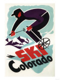 Colorado - Black and Purple Clothed Skier Skiing Colorado Poster Art