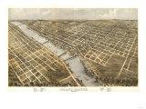 Grand Rapids, Michigan - Panoramic Map Art by  Lantern Press