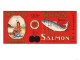 Oona Brand Salmon Label - Doyhop, Alaska Art by  Lantern Press