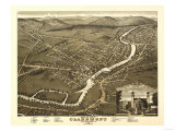 Claremont, New Hampshire - Panoramic Map Prints by  Lantern Press