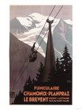 Chamonix Mont-Blanc, France - Funiculaire Le Brevent Cable Car Poster Reprodukcje autor Lantern Press