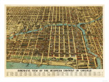 Chicago, Illinois - Panoramic Map Prints by  Lantern Press