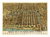 Chicago, Illinois - Panoramic Map Prints by  Lantern Press