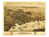 Jacksonville, Florida - Panoramic Map Prints by  Lantern Press