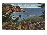 Laguna Beach, California - Girls Enjoying a Vista of Laguna Shores Prints