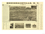 Hendersonville, North Carolina - Panoramic Map Prints by  Lantern Press