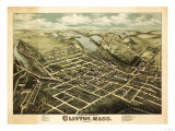 Clinton, Massachusetts - Panoramic Map Prints by  Lantern Press
