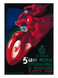 Lantern Press - Barcelona, Spain - 5 Gran Premio International Motorcycle Poster - Reprodüksiyon