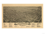 Greensboro, North Carolina - Panoramic Map Prints