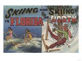 Florida - Water Skiing in Florida vs. Snow Skiing up North Prints by  Lantern Press
