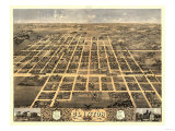 Clinton, Illinois - Panoramic Map Prints