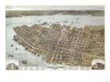 Charleston, South Carolina - Panoramic Map Prints