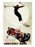 Germany - Skier Jumping over a Mercedes-Benz Promotional Poster Art