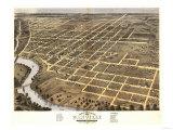Danville, Illinois - Panoramic Map Art