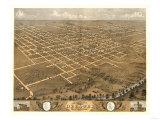 Decatur, Illinois - Panoramic Map Prints