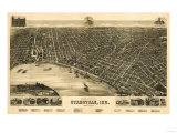 Evansville, Indiana - Panoramic Map Reprodukcje autor Lantern Press