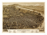 Chattanooga, Tennessee - Panoramic Map Prints