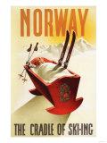 Reclameposter wintersport Noorwegen, The Cradle of Skiing Schilderijen van  Lantern Press