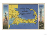 Cape Cod, Massachusetts - Detailed Map of the Pilgrimland Prints