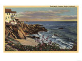 Laguna Beach, California - View of Arch Beach with Flowers Print