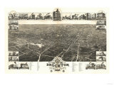 Brockton, Massachusetts - Panoramic Map Prints