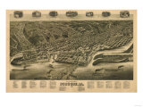 Dubuque, Iowa - Panoramic Map Prints by  Lantern Press