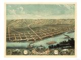 Guttenberg, Iowa - Panoramic Map Art by  Lantern Press