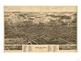 Findlay, Ohio - Panoramic Map Art by  Lantern Press