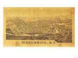 Greenwich, New York - Panoramic Map Prints by  Lantern Press