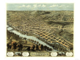 Lafayette, Indiana - Panoramic Map Art by  Lantern Press