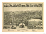 Clarksburg, West Virginia - Panoramic Map Art