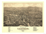 Laconia, New Hampshire - Panoramic Map Prints