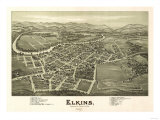 Elkins, West Virginia - Panoramic Map Prints