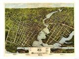 Bridgeport, Connecticut - Panoramic Map Prints by  Lantern Press