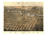 Aurora, Illinois - Panoramic Map Prints