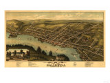 Hallowell, Maine - Panoramic Map Prints by  Lantern Press