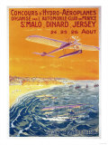 Brittany, France - View of Float Planes in Air and Water Poster Prints by  Lantern Press