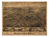 Hopkinton, Massachusetts - Panoramic Map Art