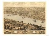 Jefferson City, Missouri - Panoramic Map Art