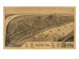 Cairo, Illinois - Panoramic Map Art