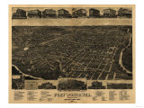 Fort Worth, Texas - Panoramic Map Posters