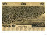 Burlington, Iowa - Panoramic Map Prints by  Lantern Press