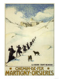 France - Monks Skiing atop the Great St. Bernard Pass Railroad Poster Prints