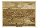 Davenport, Iowa - Panoramic Map Prints