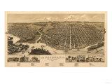 La Crosse, Wisconsin - Panoramic Map Art