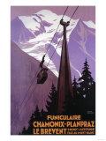 Lantern Press - Chamonix-Mont Blanc, Fransa, Brevent Dağı'na Giden Kablolu Tren - Art Print