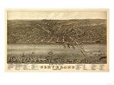 Cleveland, Ohio - Panoramic Map Prints by  Lantern Press
