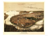 Boston, Massachusetts - Panoramic Map Prints by  Lantern Press