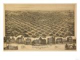 Denison, Texas - Panoramic Map Prints