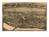 Enfield, Connecticut - Panoramic Map Prints by  Lantern Press